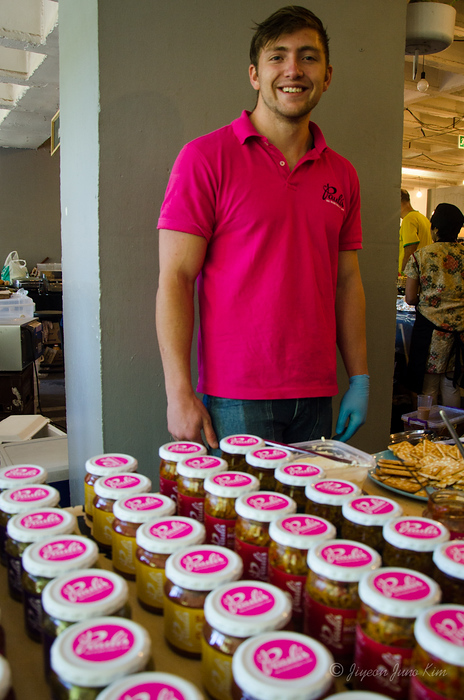 Goodies in the jar - and he is rockin' the pink shirts