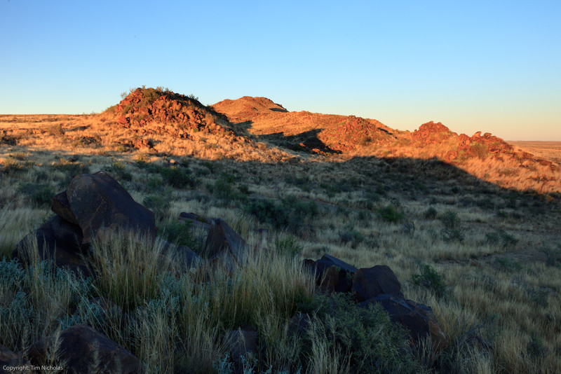 Osfontein Guest Farm koppies at sunrise
