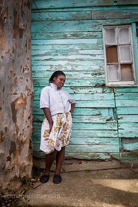 Girl in Front of Green House, Imizamo Yethu Township (Mandela Park), Cape Town, South Africa