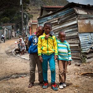 Three Boys from the Local Football Team, Imizamo Yethu Township (Mandela Park), Cape Town, South Africa