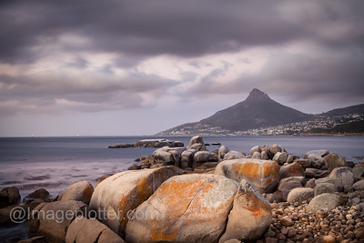 View at Sunset towards Table Mountain from Victoria Road, Near the Twelfe Apostles Hotel, Cape Peninsula, Capetown