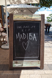 RIP Madiba - Boardwalk Sign on the Day after Nelson Mandela's Death in Stellenbosch, Cape Peninsula, South Africa