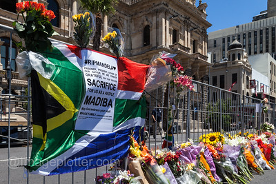 Condolence Flowers and Flags at Cape Town City Hall on the Day after Mandela's Death, 6 December 2013, Cape Town, South Africa