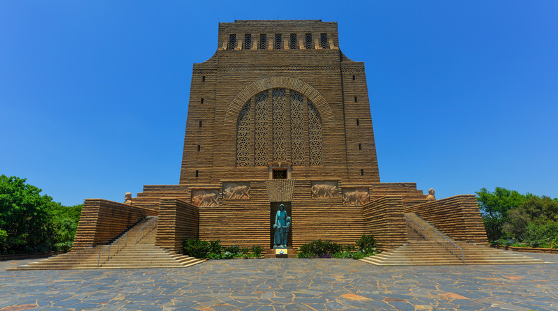 The Voortrekker Monument is located just south of Pretoria in South Africa. This massive granite structure is prominently located on a hilltop, and was raised to commemorate the Voortrekkers who left the Cape Colony between 1835 and 1854.