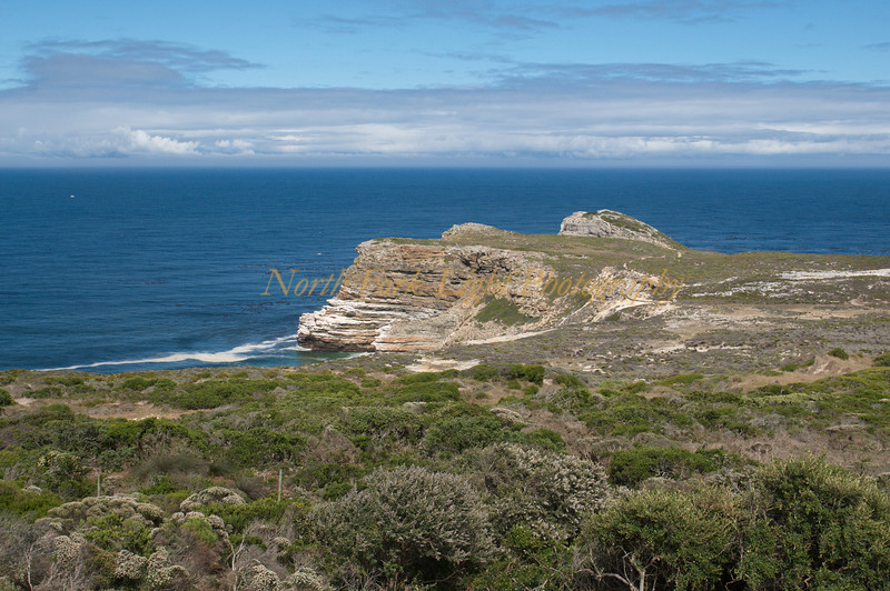 View of Cape of Good Hope--but this is not the most southern point of the continent.
