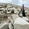 Steep slope of slippery stones!