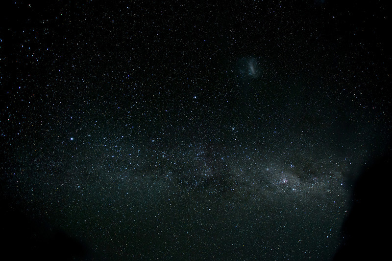 Spectacular view of the milky way, with the Large Magellanic Cloud, Sirius, Canopus and the Centauries, among other stars, clearly in view.