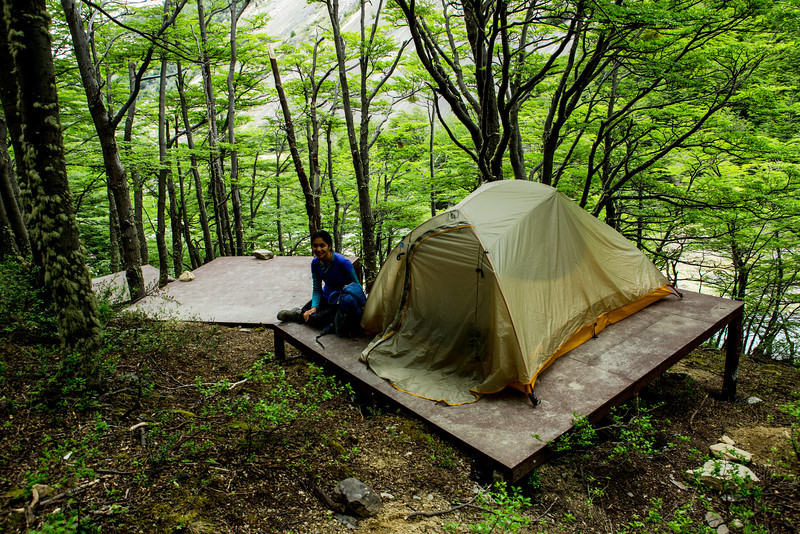 Our campsite had a platform for our tent. We were impressed--it's a long trek in!