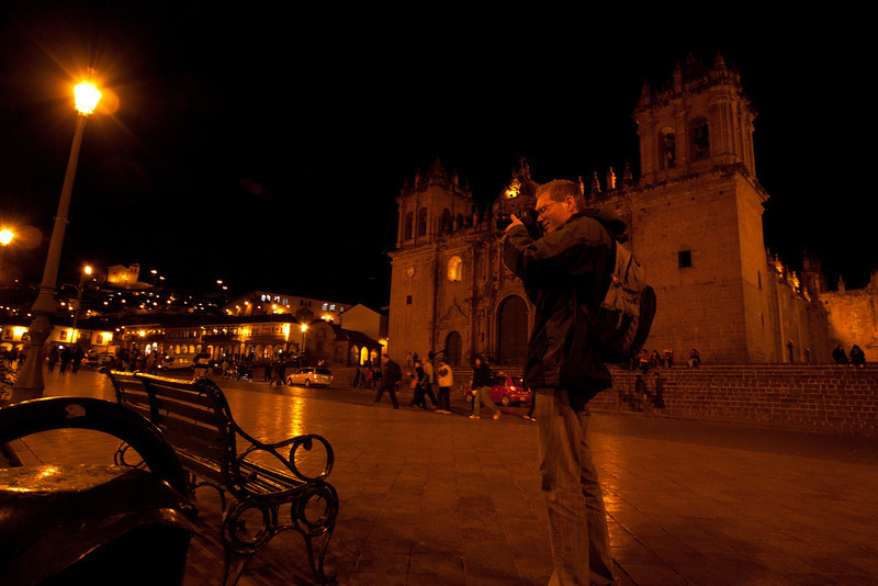 Eric taking a picture of the Plaza de Armas infront of el Catedral Santo Domingo