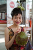 Rosa drinking from a coconut on the Copacabana beach. Minutes later this coconut was stolen - true story!<br /> IMG_0296