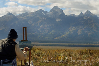 An artist paints the Teton range near Antelope Flats Grand Teton National Park
