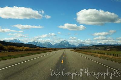 Driving toward the Tetons from Moran Grand Teton National Park