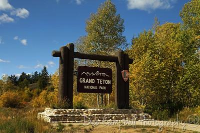 Entrance sign near Moran Junction Grand Teton National Park