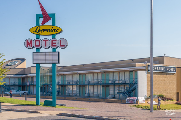 The outside of the Loraine Motel remains virtually unchanged from the way it appeared in April 1968.