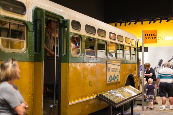 A bus from Montgomery that symbolized the transportation strike in that city.  Dr. King led a black strike (do not use) that lasted more than a year - nearly crippling the finances of the bus system.
