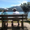 David and Candy sit next to Queen Charlotte Sound after our picnic