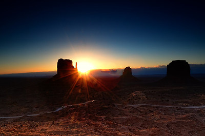 Sunrise from the balcony of the View Hotel, Monument Valley.