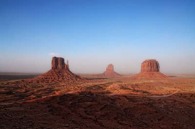 The Mittens in Monument Valley just after a sandstorm.