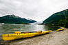 Our rented double kayaks on the shore of Mendenhall Lake, right by the very popular US Forest Service visitors center.