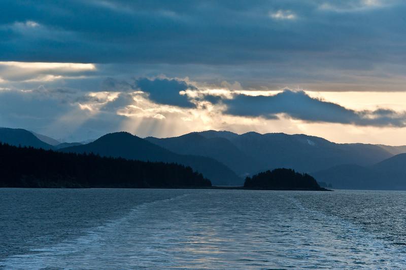 November sunrise on the inside passage, Alaska