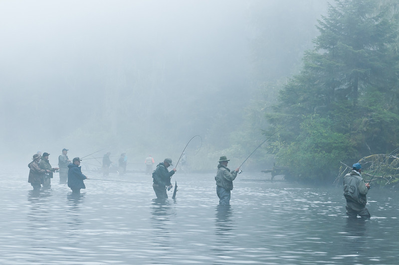 Early morning crowd at the salmon hole, Klawock River