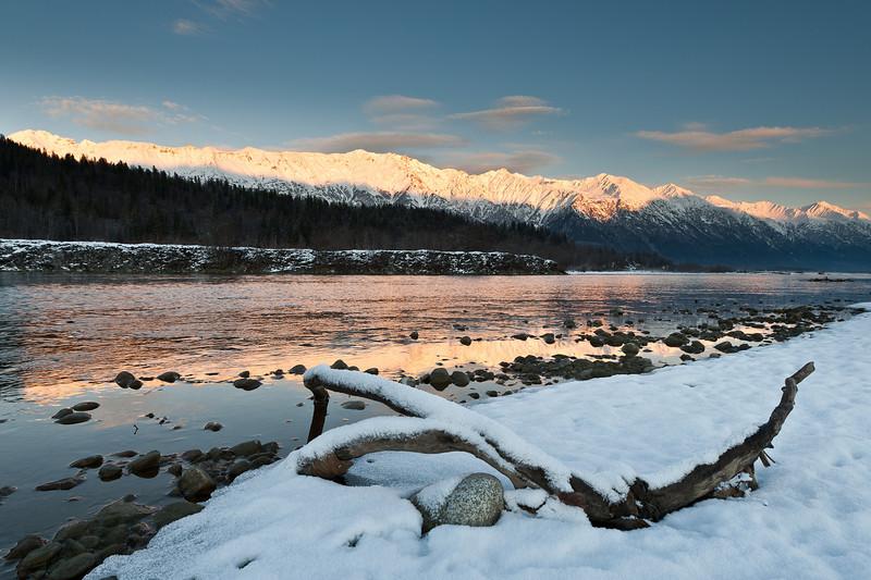 November driftwood and reflection, Chilkat River, Haines Alaska