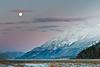 Moon and sunrise, Haines Alaska