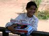 Happy school girl with supplies - Vat Kong Moch School, Siem Reap