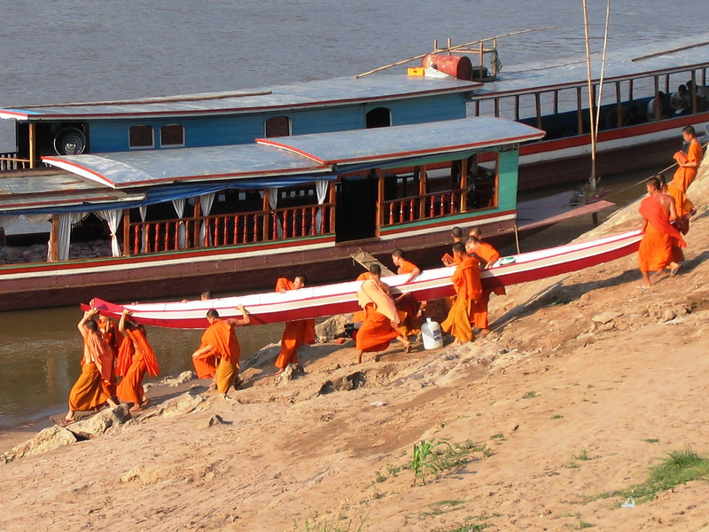 Monks with boat, Luang Prabang