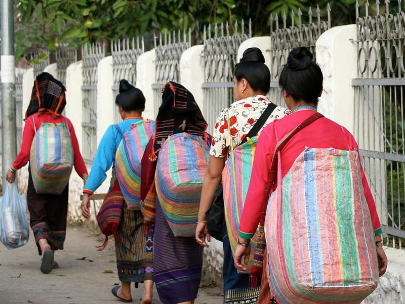 Going to market, Luang Prabang
