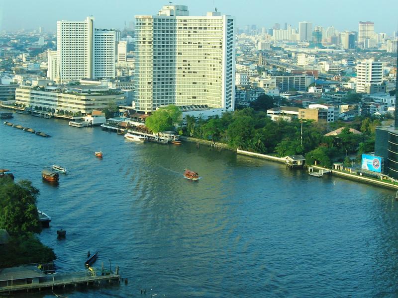 Chao Phraya River and Bangkok from Peninsula Hotel.