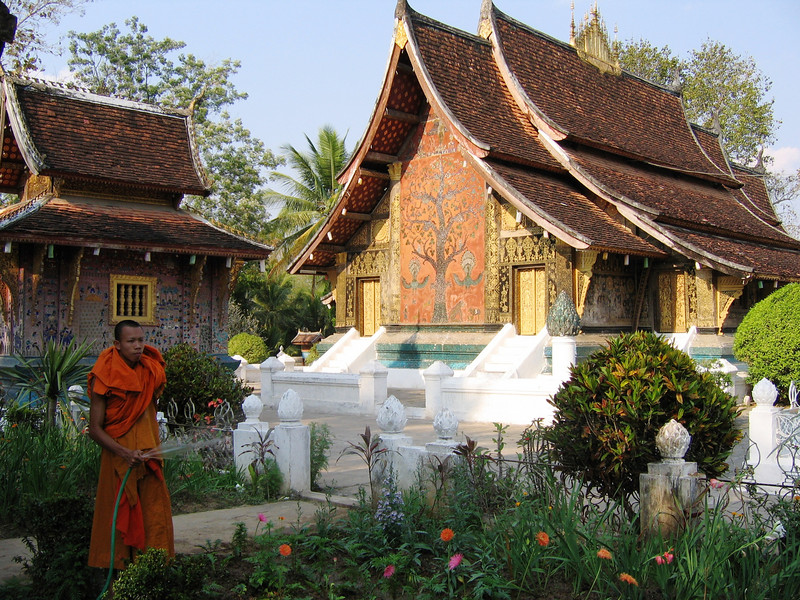 Watering the flowers, Luang Prabang