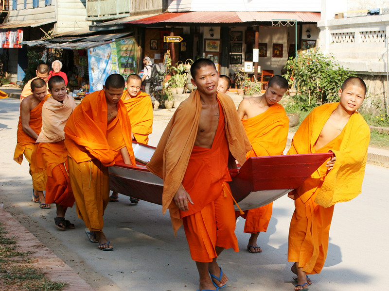 Monks with boat, Luang Prabang