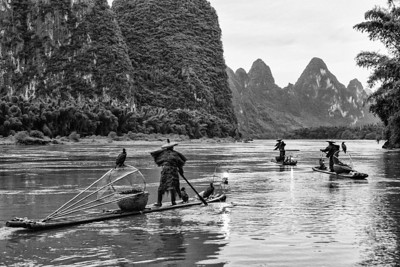 3 fishermen BW