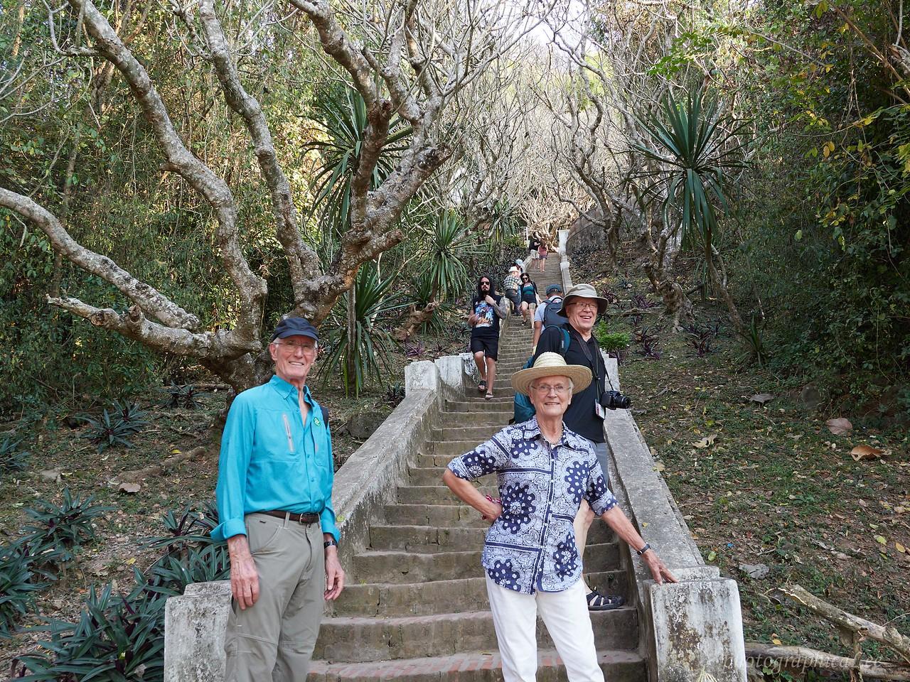 Climbing Phousi Hill in Luang Prabang.