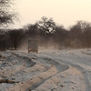 Leaving our lodgings on the edge of the Etosha Pan, we had 25 km of loose, sandy, road to negotiate. No place for wimpy vehicles.