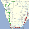 Red: 2012 route<br /> Green: 2013 route