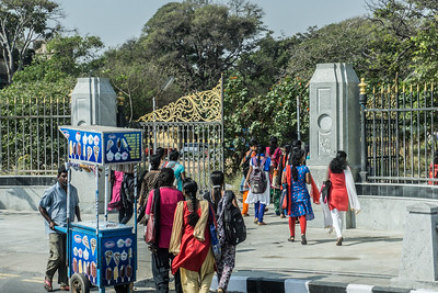 Young women arriving for classes at a women's university in Chennai