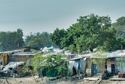 A shanty town seen from the bus