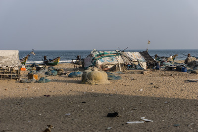 Temporary housing at the beach in Chennai.  The tsunami caused a lot of damage, destroying many homes.