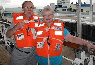 Sally and I love crusing.  It is very relaxing and lots of fun.  We have learned to hang back after life boat drills because the halls are full of people who can't pass each other.  So we enjoyed watching others trying to get back through the doors with vests on.