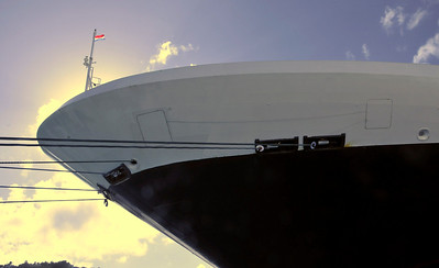 "This is the bow of our ship, the Holland America Lines Statendam.   All HAL ships are named for cities in The Netherlands.  The word ""dam"" loosely translates to ""city of,"" so our ship is the City of Staten."