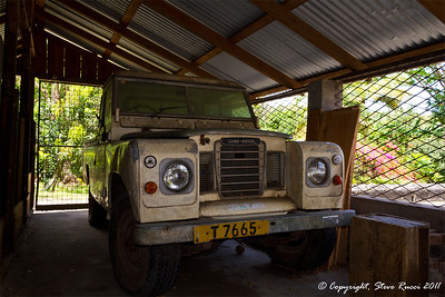 An old Land Rover at a spice estate in Genada