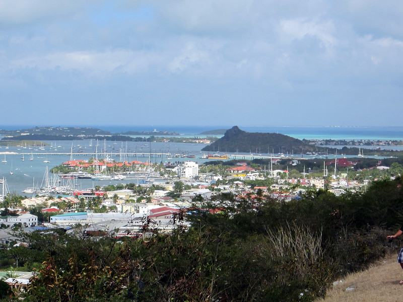 Simpson Bay Lagoon and the Caribbean in the distance.