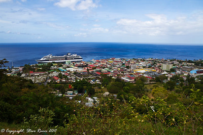 Looking out over Roseau, Dominica.  Summit at the port.