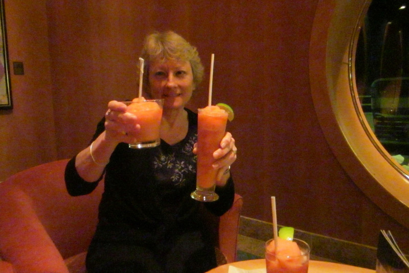 """Making two Strawberry Margarita's caused the bartender to have """"leftovers"""" from his blender, so we celebrated Patti's birthday even more!"""