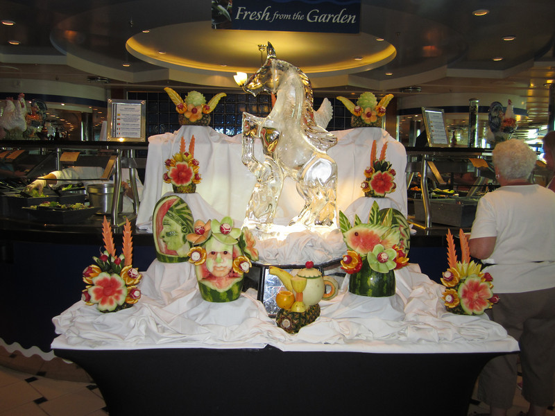 Carved watermelons and ice sculpture in the Windjammer Cafe.