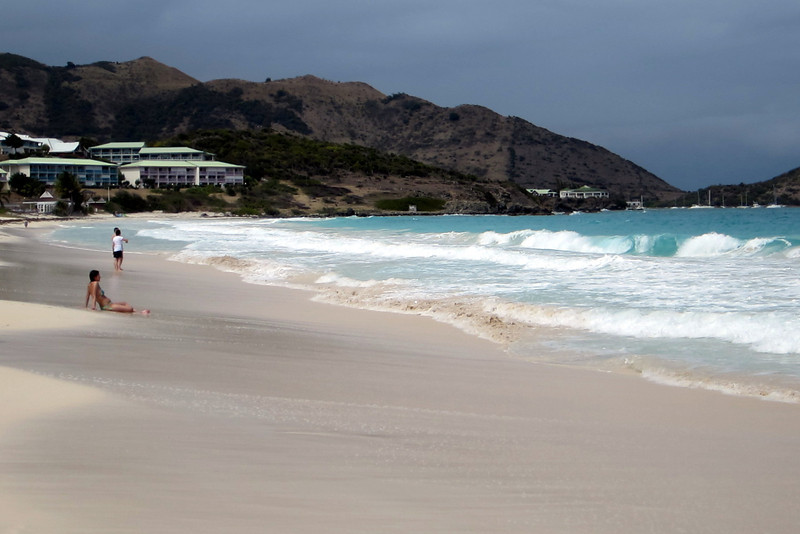 Paradise Beach at Orient Bay, St. Martin  (No, she is wearing a top.  I checked.)