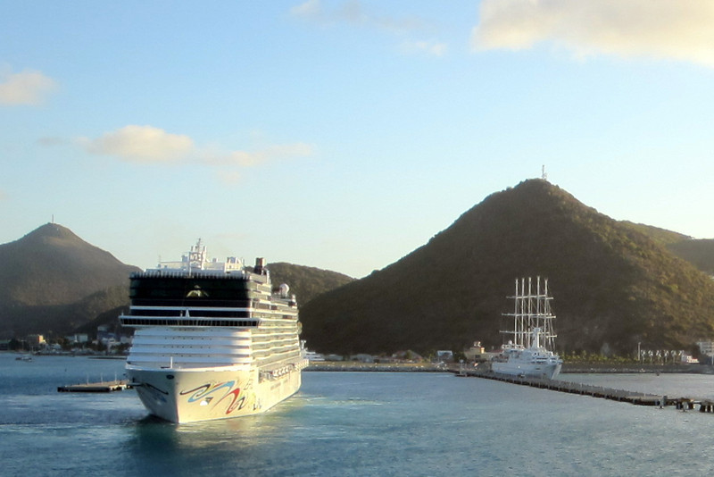 The Norwegian Epic docking first.  Club Med 2 (sailing ship) is already docked.