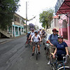 Back in Frederiksted.  They had some serious hills.  We had dinner one evening beside Canadians Pat and Leslie (2nd in line with red helmet and behind.)